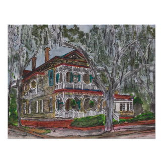 gingerbread house Savannah Georgia art painting Personalized Announcements