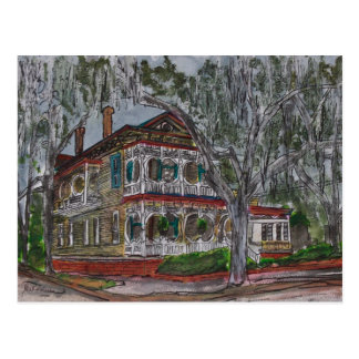 gingerbread house Savannah Georgia art painting Postcard