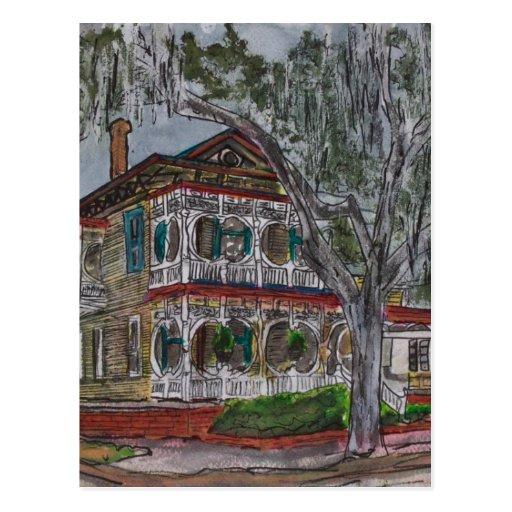Gingerbread house savannah georgia art painting postcard zazzle