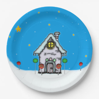 Gingerbread House Scene 9 Inch Paper Plate