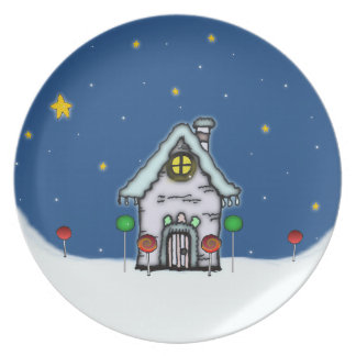 Gingerbread House Scene Party Plate