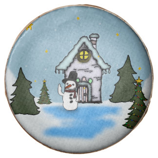 Gingerbread House & Snowman Winter Scene Chocolate Covered Oreo