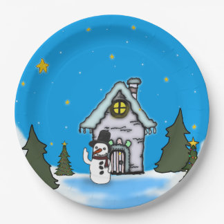 Gingerbread House & Snowman Winter Scene Paper Plate
