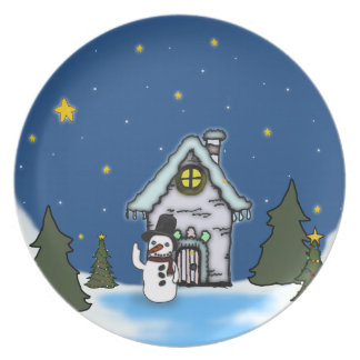 Gingerbread House & Snowman Winter Scene Party Plates