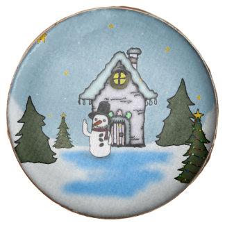 Gingerbread House & Snowman Winter Scene Chocolate Dipped Oreo
