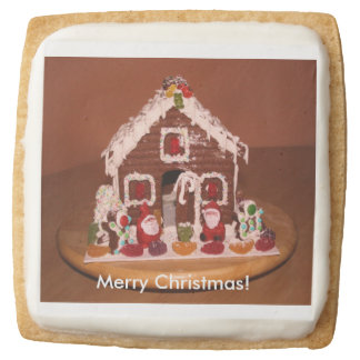 Gingerbread House Square Shortbread Cookie
