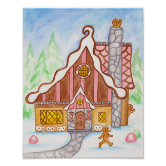 Gingerbread House Waving Gingerbread Poster