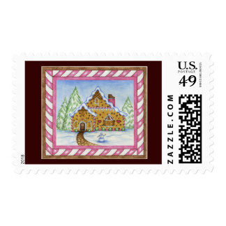 Gingerbread House With Border Christmas Postage