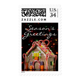 Gingerbread house with Christmas lights Postage