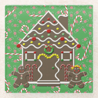 Gingerbread House With Peppermints And Candy Canes Glass Coaster