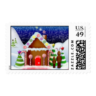Gingerbread house with reindeer postage stamp