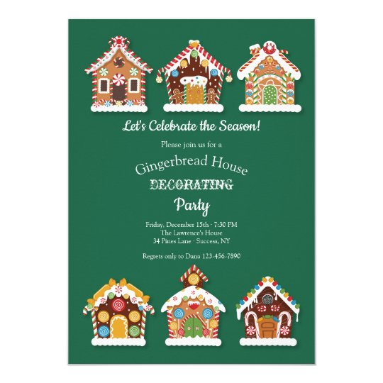 Gingerbread Houses Decorating Party Invitation Zazzle Com