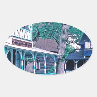 Gingerbread Houses Tom Wurl Oval Sticker