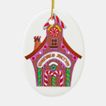 Gingerbread Junction Double-Sided Oval Ceramic Christmas Ornament