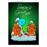 GINGERBREAD KIDS AND LOLLIPOPS by SHARON SHARPE Greeting Cards
