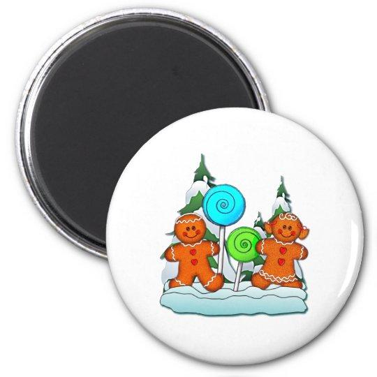 GINGERBREAD KIDS AND LOLLIPOPS by SHARON SHARPE Magnet