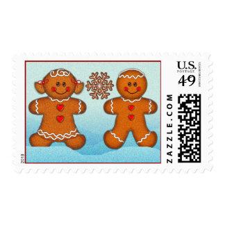 GINGERBREAD KIDS  by SHARON SHARPE Postage Stamp