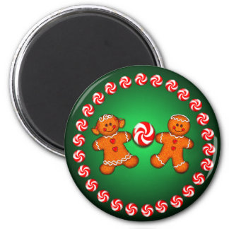GINGERBREAD KIDS & CANDY by SHARON SHARPE 2 Inch Round Magnet