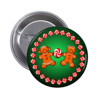 GINGERBREAD KIDS CANDY by SHARON SHARPE Pinback Button