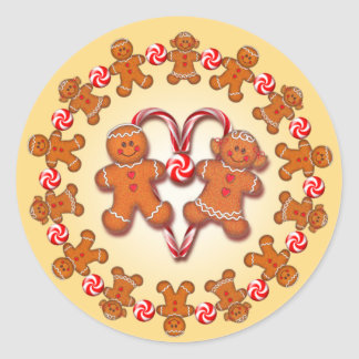 GINGERBREAD KIDS & CANDY by SHARON SHARPE Classic Round Sticker