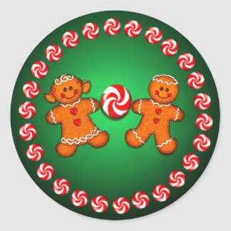GINGERBREAD KIDS & CANDY by SHARON SHARPE Sticker