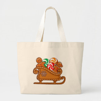 GINGERBREAD KIDS, CANDY & SLEIGH by SHARON SHARPE Large Tote Bag