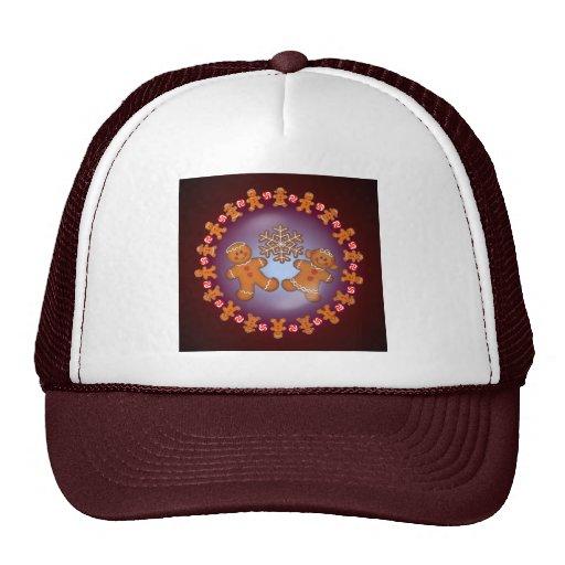GINGERBREAD KIDS & WREATH by SHARON SHARPE Trucker Hats