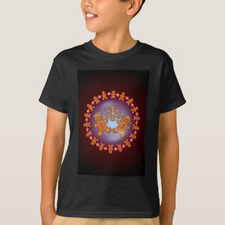 GINGERBREAD KIDS & WREATH by SHARON SHARPE T-Shirt