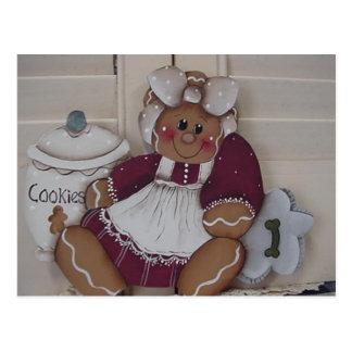 Gingerbread Kitchen Cookie Girl Postcard