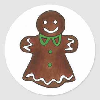 Gingerbread Lady Woman Christmas Holiday Cookies Classic Round Sticker