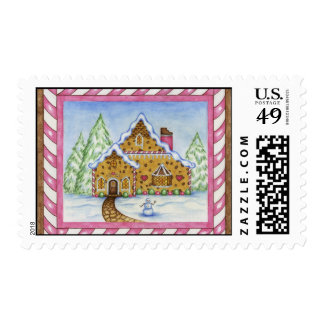 Gingerbread Lodge House Postage Stamp