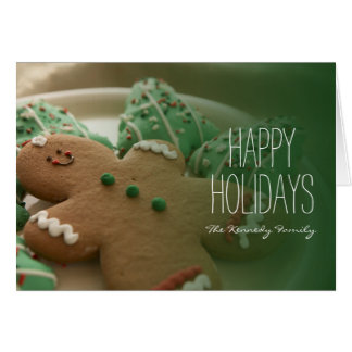 Gingerbread man and Christmas cookies on plate Card