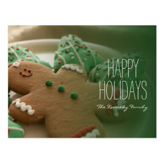 Gingerbread man and Christmas cookies on plate Postcard