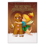 Gingerbread Man And Fairy Christmas Card - Love At