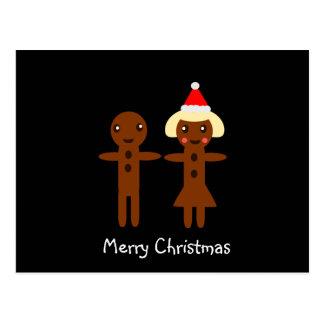 Gingerbread Man and Girl  Merry Christmas 2 Postcard