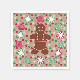 Gingerbread Man and Gumdrops Paper Napkins