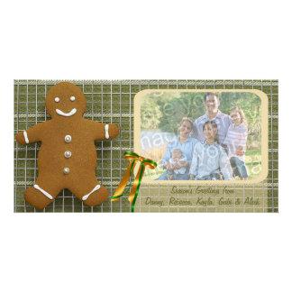Gingerbread Man And Ribbon Photo Holiday Card
