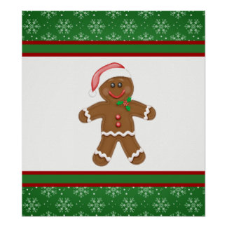 Gingerbread Man and Snowflakes Green Border Poster