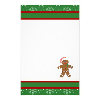 Gingerbread Man and Snowflakes Green Border Custom Stationery
