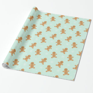 Gingerbread man and snowflakes wrapping paper