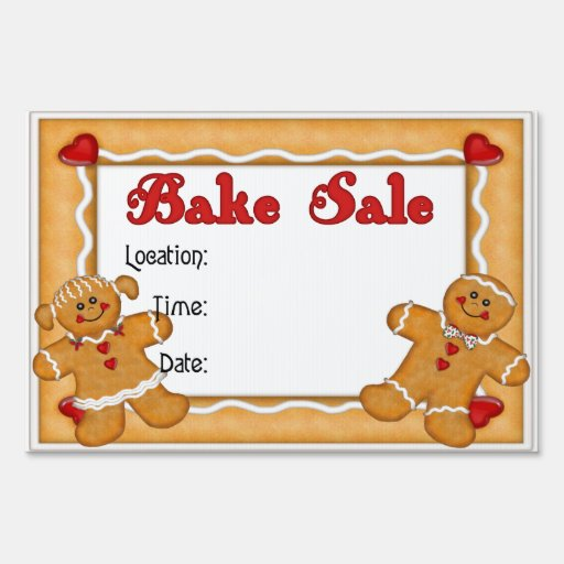 Gingerbread Man and Woman Bake Sale Lawn Signs