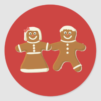 Gingerbread Man and Woman on Red Classic Round Sticker