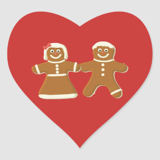 Gingerbread Man and Woman on Red Heart Sticker