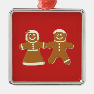 Gingerbread Man and Woman on Red Metal Ornament