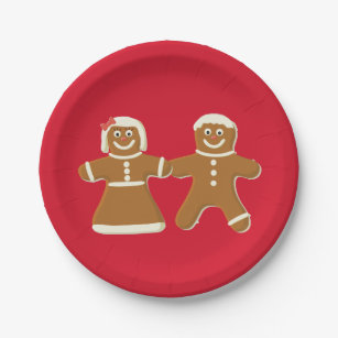 Gingerbread Man and Woman on Red Paper Plate & Gingerbread Man Plates | Zazzle