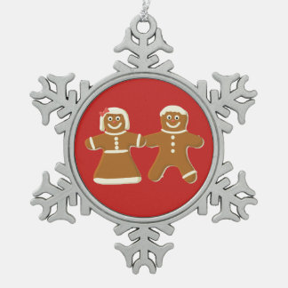 Gingerbread Man and Woman on Red Snowflake Pewter Christmas Ornament