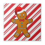 gingerbread man at christmas small square tile