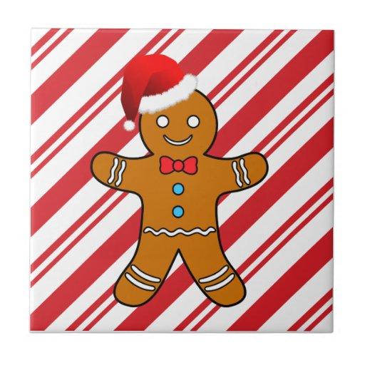 gingerbread man at christmas tiles
