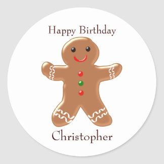 Gingerbread Man Birthday Classic Round Sticker