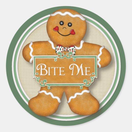 Gingerbread Man - Bite Me Classic Round Sticker